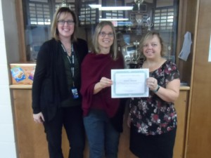 Pictured above (L to R): Cheryl Innes, Vice Principal; Annette Mitchell, Nancy Waldschmidt, Volunteer Development Coordinator, Brant Food For Thought
